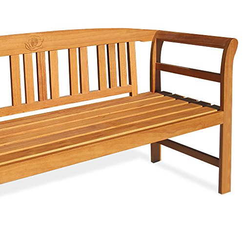 Deuba Garden Bench Rose FSC�-Certified Eucalyptus Wood 2 Seater Wooden Garden Furniture Armrests