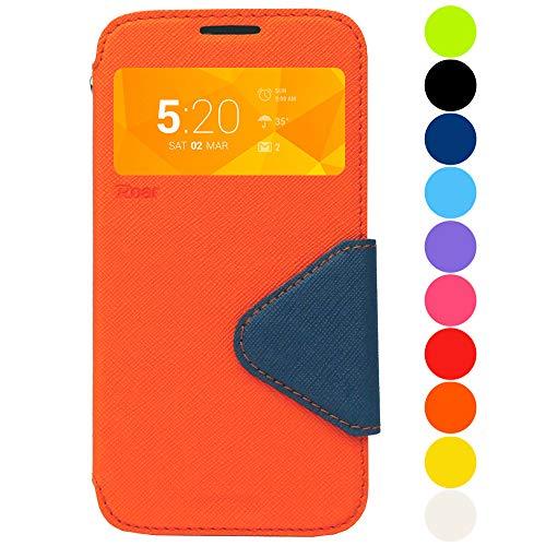 Roar Galaxy S7 Edge Tasche Klapphülle Hülle Handyhülle Flip Case mit Fenster, Premium Etui Schutzhülle geeignet für Samsung Galaxy S7 Edge, Orange