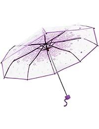 Transparente paraguas, cerezos plegable paraguas forma de cúpula de resistente al viento transparente de apertura