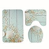 LYM &Set di tappeti da bagno Fodera per sedile WC in poliestere Set modello in legno creativo Rivestimento per sedile e copri-toilette antiscivolo coprivaso in tre pezzi (Colore : B)