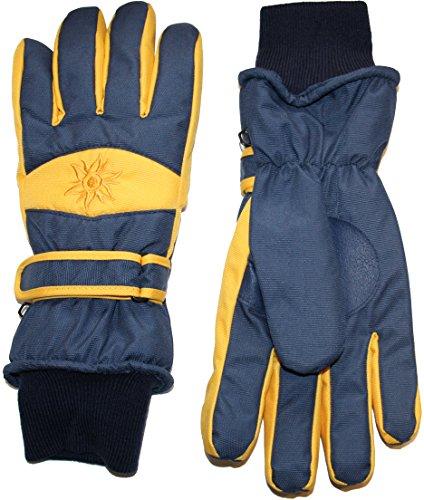 Didso Herren Snowboard Ski Schnee Handschuhe mit atmungsaktivem Fleecefutter und Schneefang am Handgelenk, sun gelb L