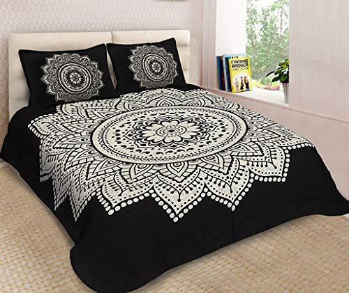 Lakshita Enterprises 100% Cotton Double Bedsheet Animal Print Design with 2 Pillow Covers- King Size, Black (270 cm X 225 cm)