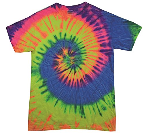 Neon Rainbow Tie Dye (Colortone Regenbogen Tiedye T-Shirt - 9 Designs / SML - 2XL - Neon Rainbow - L)