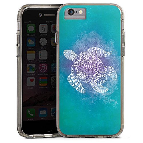 Apple iPhone 7 Bumper Hülle Bumper Case Glitzer Hülle Mandala Turtle Pattern Muster Bumper Case transparent grau