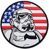 Star Wars Imperial Flagge Schwarz Bordüre bestickt Badge Patch zum Aufnähen oder Aufbügeln auf 7,5cm x 7,5cm