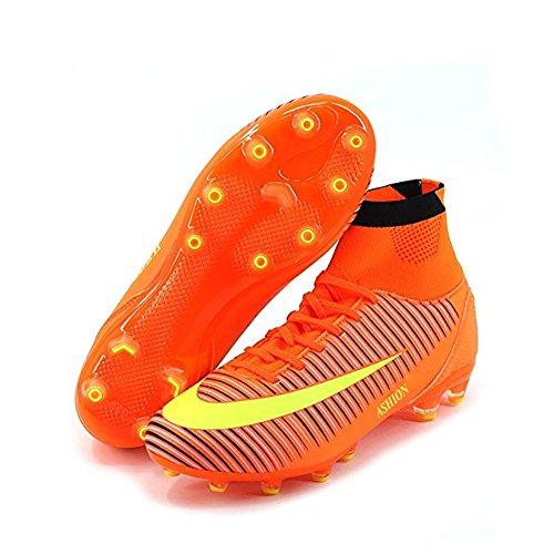 ASHION Kinder Fußball Trainingsschuhe Junior High Fußballschuhe Orange