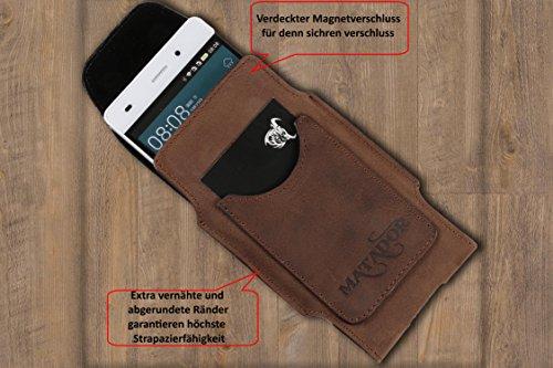 MATADOR Apple iPhone 7 Plus ECHT Ledertasche Hülle Case Magnetverschluss Schlaufe Natur Schwarz Antik Braun