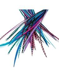 25Extensions de cheveux en plumes véritables: court Skinny 17,8–22,9cm (18–23cm) + Anneaux/Boucle