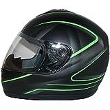 Protectwear Casque de moto  intégral, noir mat vert, V190-SG, Taille: XL