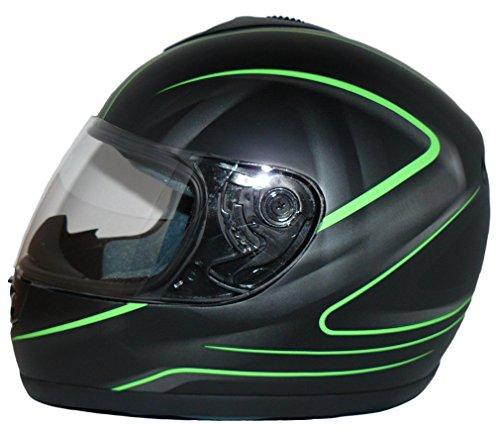 protectWEAR Motorradhelm, Integralhelm, Matt Schwarz/Grünes Muster, M