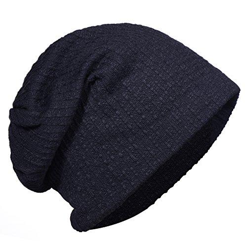 Imagen de dondon hombre jersey gorro para todo el año clásico flexible gorro transpirable suave y adaptable a cualquier talla de cabeza  azul oscuro alternativa