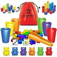 Gleeporte Contar con los Osos de Colores coordinados Ordenación de Las Copas Montessori clasificación y conteo de Juguetes educativos (67 Piezas Set) 60 Osos 6 Copas Bolsa de Almacenamiento