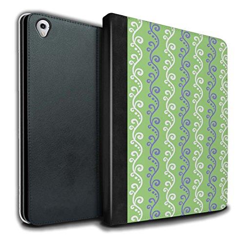 Stuff4® PU-Leder Hülle/Case/Brieftasche für Apple iPad Pro 9.7 Tablet/Grün Muster/Weinstock Kollektion -