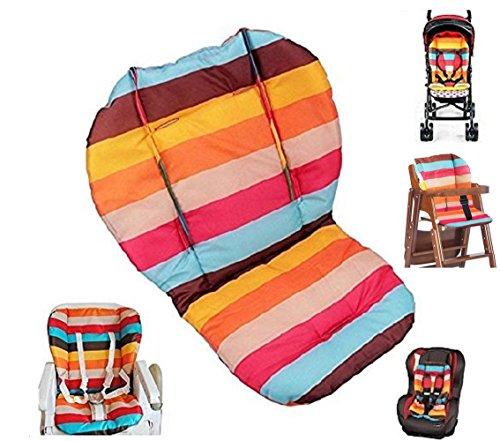 Ywoworld Coussin protège siège bébé pour poussette/voiture/chaise haute avec housse de protection arc-en-ciel à rayures respirant et résistant à l'eau