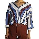 Tops Damen Oberteile Streifen Taste Bluse T-Shirt Langeshirt Elegant DOLDOA