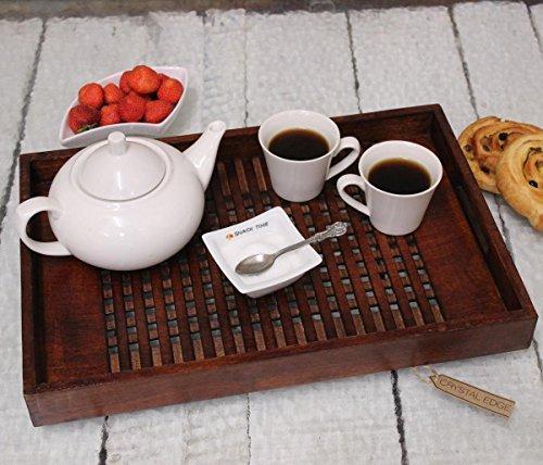 Sheesham Holz Sockel (handgefertigt aus Holz Tablett Latice Ausführung Sockel Sheesham massiv braun Holz - groß)