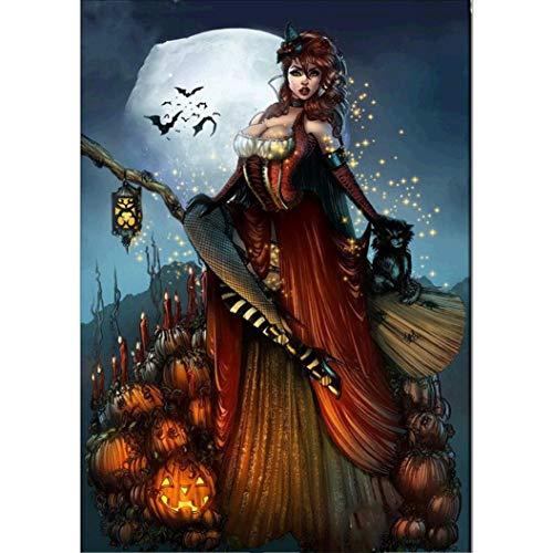 (VEMOW Heißer Halloween Party Dekoration 5D Stickerei Gemälde Strass Kleben DIY Diamant Malerei Kreuzstich 40 * 30cm(Mehrfarbig, 40 * 30cm))
