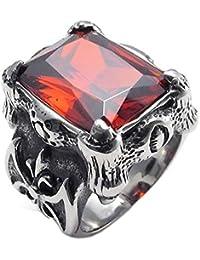 Anillo de hombres - TOOGOO(R) anillo de joyeria para hombre motorista, de acero inoxidable, de cristal rojo de estilo retro en forma de…