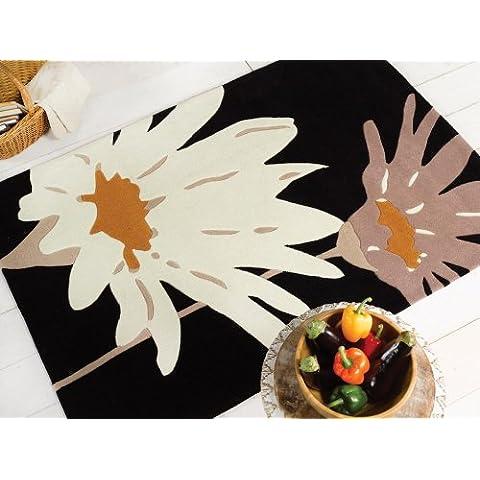 I picchi Alton, colore: nero/fiori, colore: ocra, Tappeto, 120 x 170 cm