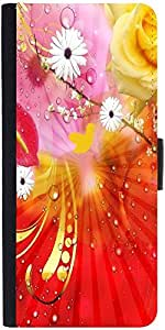 Snoogg Fantasy Flowers Backgrounddesigner Protective Flip Case Cover For Sams...