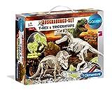 Clementoni 69408.2 - Galileo - Ausgrabungsset T-Rex und Triceratops fluoreszierend, Experimentierkaesten
