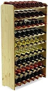 MODO24 Scaffale Vino, per 63 Bottiglie, Legno, Non trattato, 118,4x72,2x26,5 cm, 8 unità