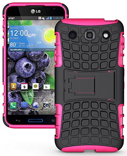 Heartly Flip Kick Stand Hard Dual Armor Hybrid Rugged Bumper Back Case Cover For LG Optimus G Pro F240 E985 E988 - Pink  available at amazon for Rs.319