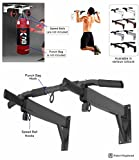 Pull Up Bar Wall Mounted Metal Chin Up Bar Punch Bag and Speed Ball Hook Home Fitness Exercise Bracket (Black)