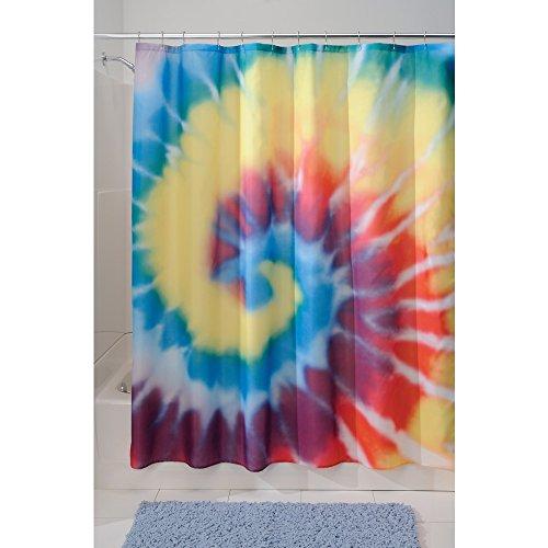InterDesign Tie Dye Duschvorhang | kunstvoller Vorhang für Badewanne und Dusche in 183,0 cm x 183,0 cm | Duschvorhang aus Stoff mit Batik-Muster| Polyester bunt (Vorhänge Mit Stoff Muster Designer)