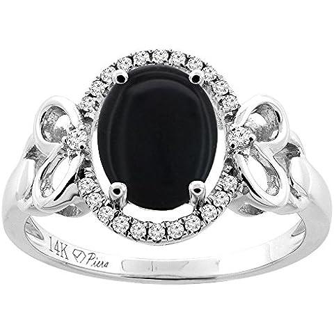 Revoni-Catenina in oro 14 CT, colore: nero Onyx Halo anello, 9 x 7 mm, motivo cuore, diamante & Accents