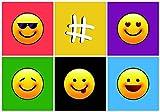 Emoji Einladungskarten für Kindergeburtstag im Set 10 Stück mit 5 Smiley Geburtstags-Party für Jungen und Mädchen. Party Hashtag LOL