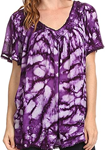 Sakkas 16780 - Laylah Long Wide Short Sleeve Embroidery Lace Sequin Blouse Shirt Tunic Top - Purple - OSP
