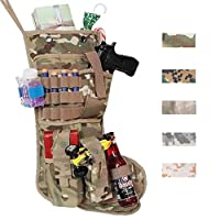 Beyond Your Thoughts 2018 New Tactical Christmas Stockings US Military with MOLLE Gear Webbing Durable Christmas Ornament for Family Decorations Multicam Camo (1 Pack)