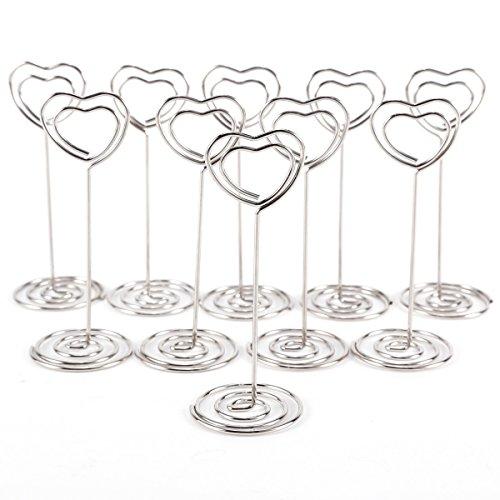 (Anladia 100Love Herz Form Tisch Nummer, Fotohalter steht Name Card Memo Clip für Hochzeit Party)