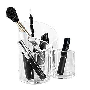 Solly`s Susann Kosmetik Organizer aus Acryl, Make Up Aufbewahrung, Kunststoff Becher für Schminke und Makeup, 3 Fächer