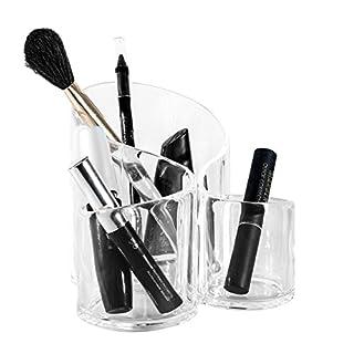 Solly´s SUSANN Kosmetik Organizer aus Acryl, Make Up Aufbewahrung, Kunststoff Becher für Schminke und Makeup, 3 Fächer