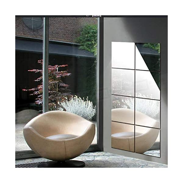 multiware 16pcs miroir autocollant miroir adh sif d coratif miroir carr s argent amovible. Black Bedroom Furniture Sets. Home Design Ideas