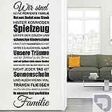 DESIGNSCAPE® Wandtattoo Eine fast perfekte Familie: Wir sind keine perfekte Familie, bei uns findet man Staub hinter Kommoden, Spielzeug unter der... 48 x 140 cm (Breite x Höhe) silber DW801353-M-F25