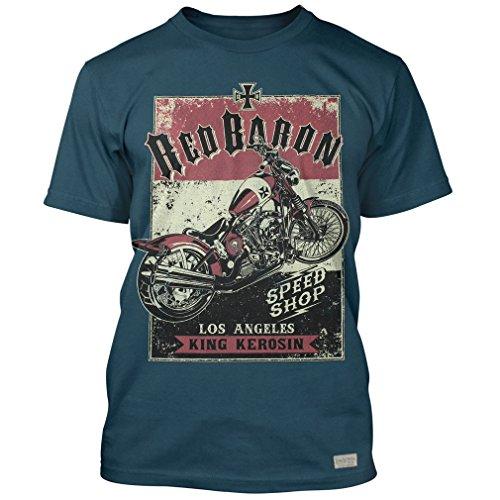 King Kerosin Rockabilly Vintage Biker T-Shirt Bobber - Red Baron Türkis Türkis