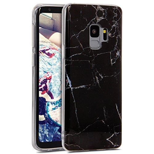 Black Galaxy Stone (phezen Galaxy S9Fall, Luxus Slim stoßfest Schutz Bumper Marmor Design IMD Weich Flexibel TPU Silikon Rückseite Case Cover für Samsung Galaxy S9 Black Gold stone)