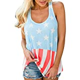 SUNNSEAN New Mode Nationalflagge Printing T-Shirt Lässig Bluse Lose Ärmellos Modisch Damen Tank Top Gestreift Kurzarm Ladies Sommer Oberteile Mode Tops (S, Blau)
