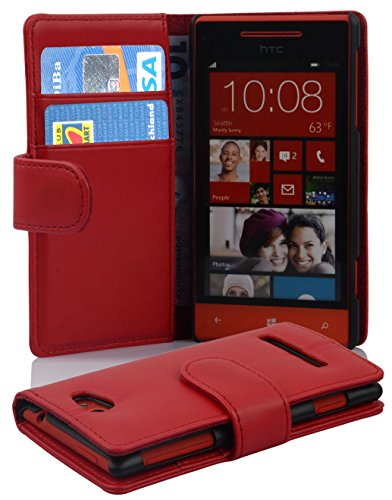 Cadorabo - Book Style Hülle für HTC 8S - Case Cover Schutzhülle Etui Tasche mit Kartenfach in CHILI-ROT