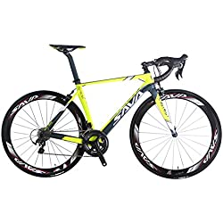 SAVA Graceful 1.0 700C Bicicleta de Carretera de Fibra de Carbono SHIMANO 6800 22-Velocidad Sistema Maxxis Neumáticos Fi'zi: k Cojín (Amarillo & Gris)