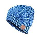KooKen Oreillette Bluetooth Sans fil Winter Beanie Outdoor Sport Hat Avec Casque Stéréo Haut-parleur Micro Mains Libres Pour Les Téléphones Cellulaires - Bleu