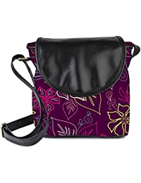 Snoogg Floral Sketch Pink Womens Sling Bag Small Size Tote Bag