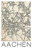 David Springmeyer: Retro Karte Aachen Deutschland Grunge - Leinwandbild - Poster, Produkt:Poster. gerollt, Größe (HxB):60x40 cm/Poster