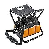 Klapphocker mit Werkzeugtasche Klappstuhl Angelhocker Stuhl Werkzeug Tasche Sitz Hocker