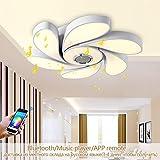 72W RGB LED Deckenleuchte Modern Smart Home Bluetooth Lautsprecher Musik,Smartphone-App Fernbedienung Kontrolle Dimmbar LED Buntes Deckenlampe Wandlampe,D56CM