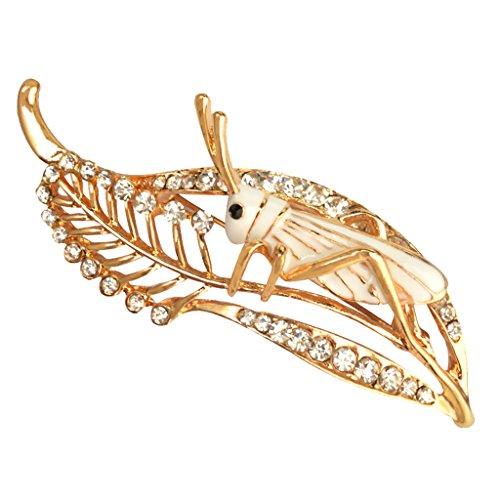 Sharplace Kristalle Straß Locust Cricket-Stil Brosche Heuschrecken-Brosche - Weiß Cricket-stil