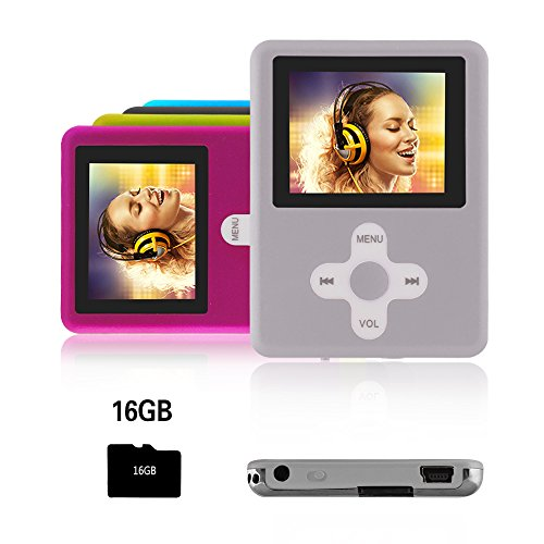 Btopllc MP3-Player,MP4 Player 16GB Karte,MP3 tragbarer Musik-Player,Video Player USB,MP3/MP4 Digitaler Musik Player Klassisch wiederaufladbar/Media Player/Video/Audio Player/Multimedia Player - silber